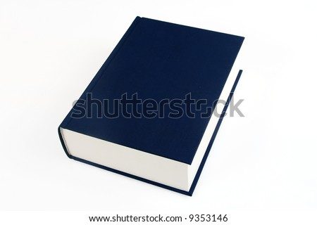 single navy blue book over white background