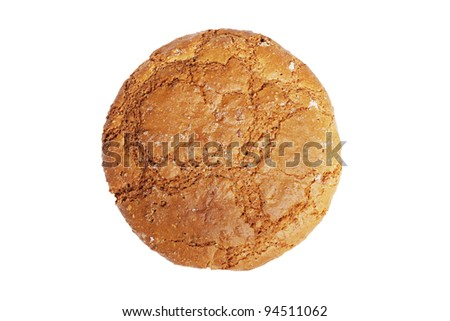 Single oatmeal cookie isolated on white
