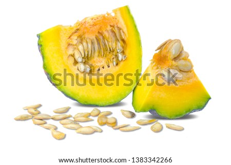 Single object of Thai Pumpkin isolated on white background #1383342266