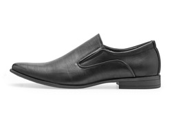 Single of classical black leather shoes for men, without shoelaces on a white background