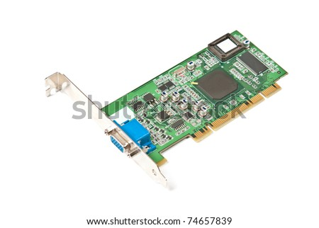 Single old computer videocard isolated on white background