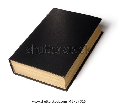 Single old hard cover black book isolated over white