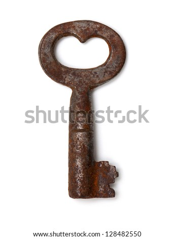 single old key isolated on white background