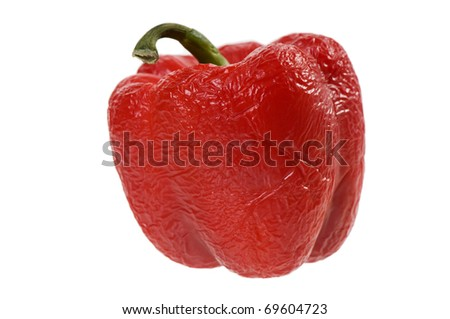 Single old wrinkled red bell pepper or Capsicum fruit with green stalk isolated on white, vegetable wastage, horizontal orientation, nobody.