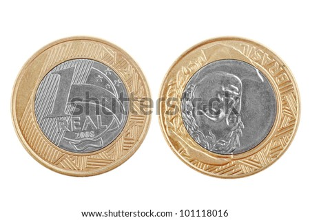 Single one Brazilian real coin isolated on white background showing the two sides of the coin, good for representing money in emerging countries. Shows the appearance of money in Brazil.