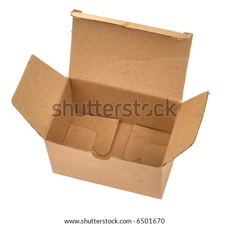 single open cardboard box againt white background, view from above