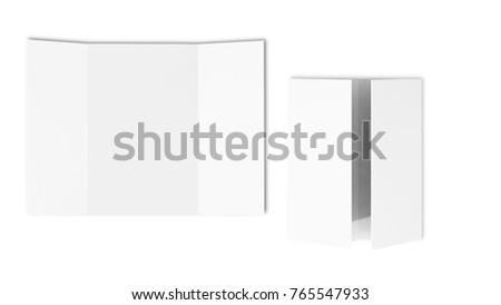 Single open gate fold brochure, 3 panel and six pages leaflet. blank white 3d render illustration