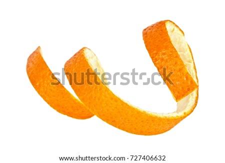 Single orange peel on a white background #727406632