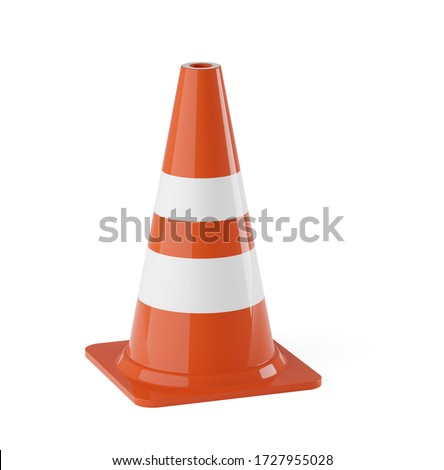 Single orange traffic warning cone or pylon on white background - under construction, maintenance or attention concept, 3D illustration Foto stock ©