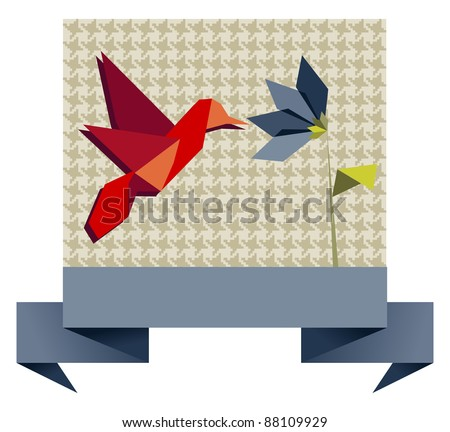 Single Origami hummingbird over textile seamless pattern background.