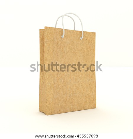 Single Pack of kraft carton paper with handles. Bag of cardboard for shopping purchases of goods, gifts and things. Isolated on white background. 3d illustration