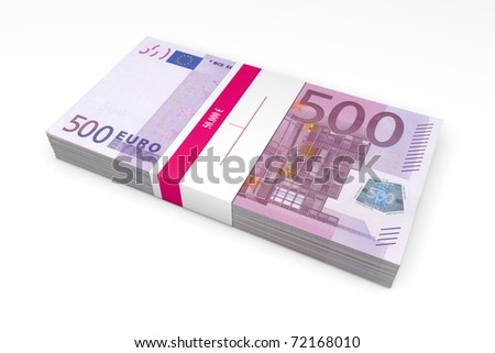 single packet of 500 Euro notes with bank wrapper - 50.000 Euros