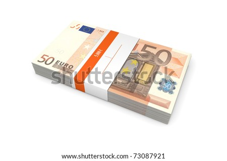 single packet of 50 Euro notes with bank wrapper - 5.000 Euros