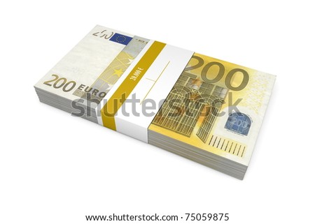 single packet of 200 Euro notes with bank wrapper - 20.000 Euros