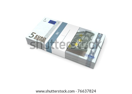 single packet of 5 Euro notes with bank wrapper - 500 Euros