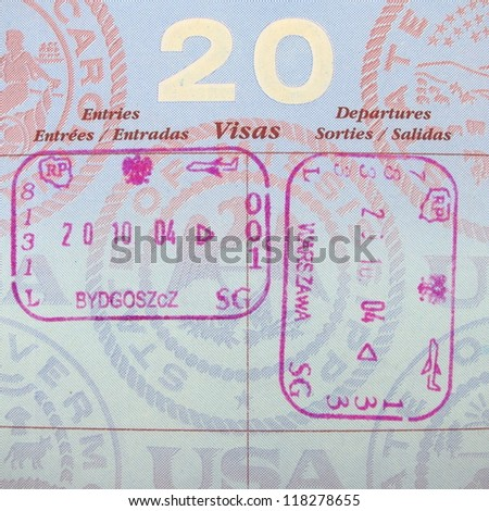 Single page of vivid passport stamps.