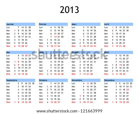 Single page year 2013 calendar in French - with public and bank holidays for France