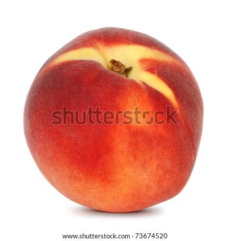 single peach on white background