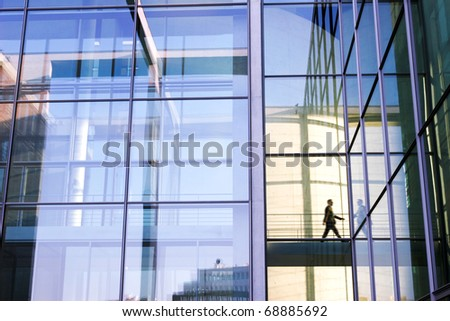 Single Person behind big office front