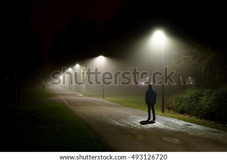 Shutterstock Single Person Walking on Street in the Dark Night