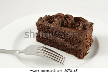 single piece of chocolate cake - stock photo