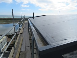 Single ply anthracite roof under construction