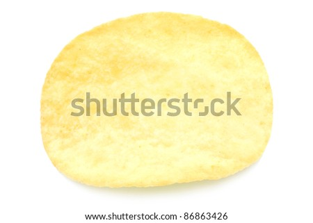 Single potato chip close-up on a white background