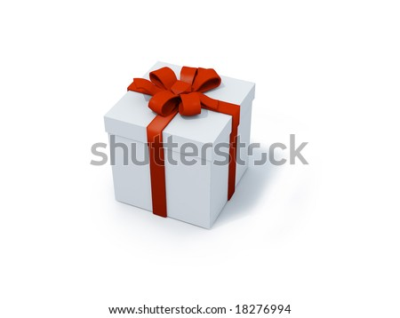 single present box with red ribbon. FIND MORE present boxes in my portfolio