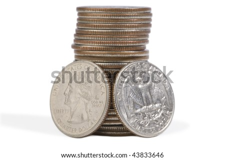 Single quarter stack. Complete view of both sides. Isolated against white background.