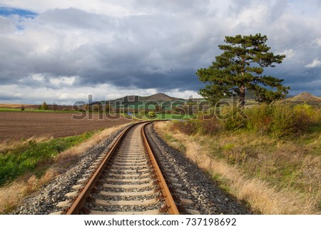 Single railway track in Rana, Central Bohemian Highlands, Czech Republic