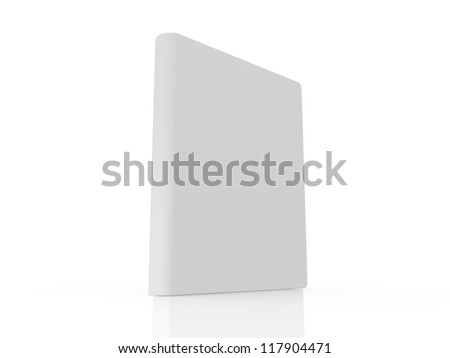 Single realistic book standing with blank cover template, isolated on white background.