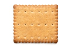 Single rectangular butter biscuit isolated on white. Top view.