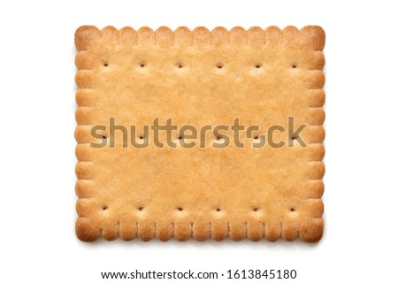 Single rectangular butter biscuit isolated on white. Top view. Photo stock ©