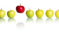Single red apple floating above a row of green apples isolated on white background.