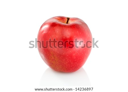 Single red apple isolated on the white background