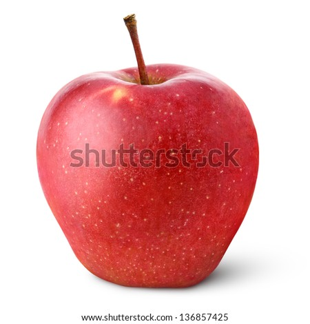 Single red apple isolated on white with clipping path