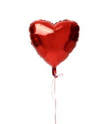 Single red big heart metallic balloon for birthday isolated on a white background