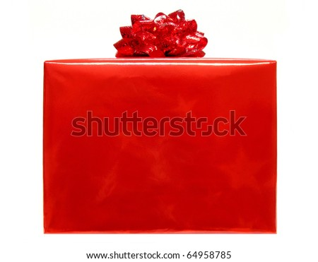 Single red Christmas gift box with bow isolated on a white background