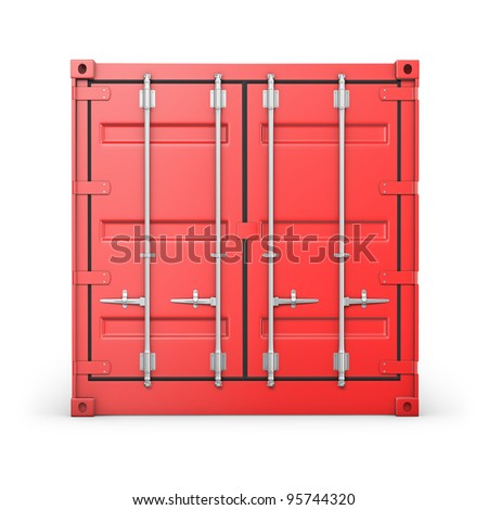 Single red container, front view, isolated on white background