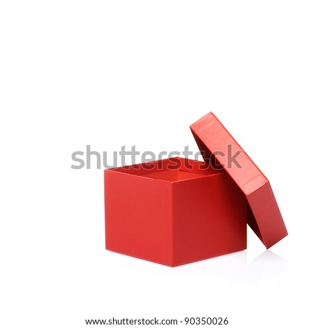 Single red gift box on white background.