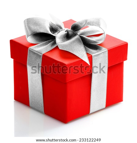 Single red gift box with silver ribbon on white background.  #233122249