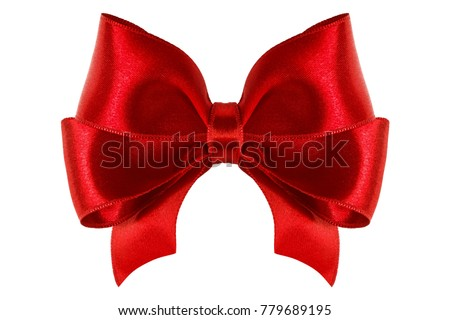 single red ribbon satin gift bow isolated on white #779689195