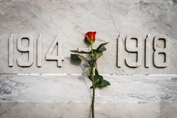 Single red rose flower stood on white marble world war memorial statue 1914 to 1918 first and second remembrance poppy day veterans anniversary. Close up of carved date numbers in stone.