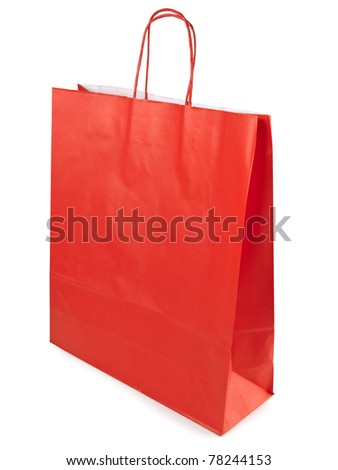Single red shopping paper bag over white background