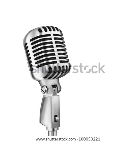 single retro microphone isolated on white background