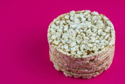 Single rice cake on the red background