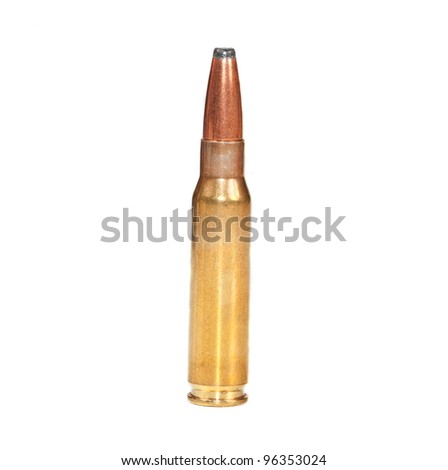 Single rifle bullet ready to be fired standing on a white surface