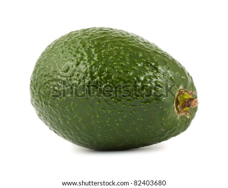 Single ripe green avocado isolated on white background