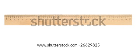 Single ruler isolated with clipping path over white