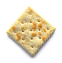 Single Saltine Cracker Top View Isolated on White.